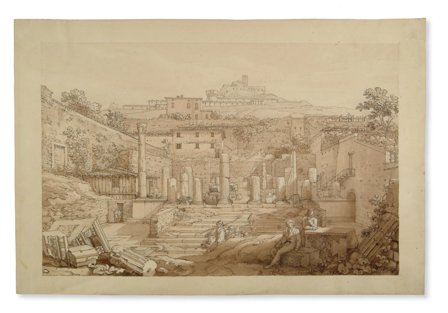ABOVE Luigi Basiletti, The Capitoline Temple seen from the south at the end of the excavations. Ink and sepia drawing, 1826.