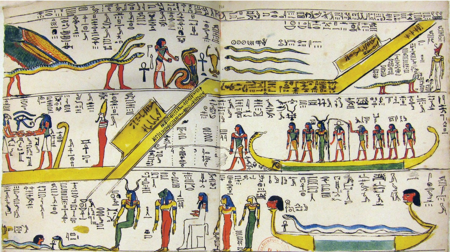 above A hand-drawn and -coloured page from Jean-François Champollion's notebooks.