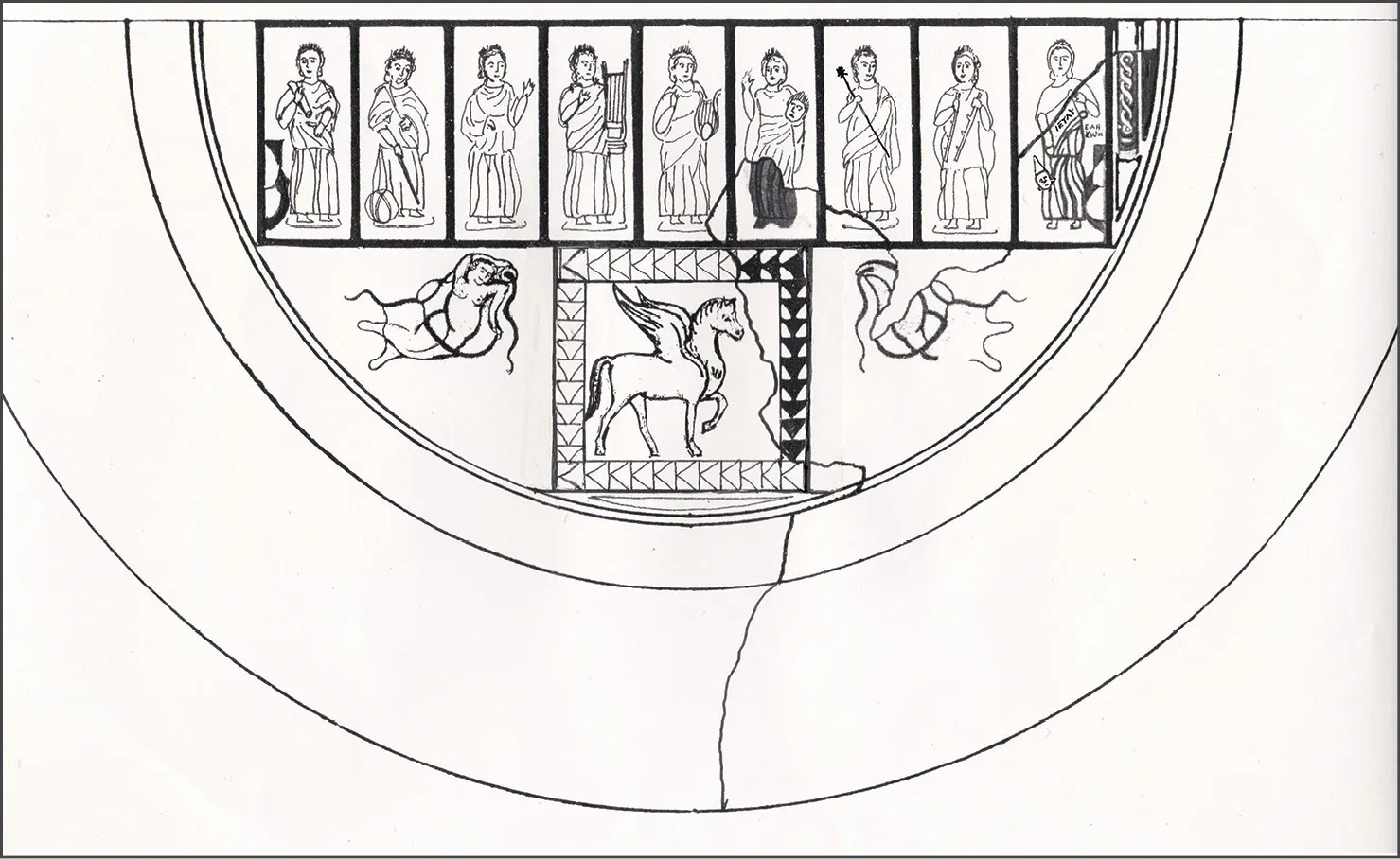 right An interpretive reconstruction from 1996 suggesting how the Aldborough Helikon mosaic might have appeared. The Muses overlook the nymphs of the Hippokrene and Agannippe springs, and the central panel may have held a scene of the grooming of Pegasus. As on the new mosaic, a mask-bearing figure survived at the far right.