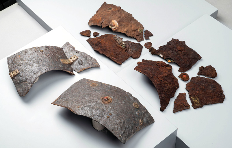 above Other artefacts found at Kalkriese included several Roman weapons. left The Roman cuirass found at Kalkriese represents the most complete example of a lorica segmentata currently known from the early 1st century AD.