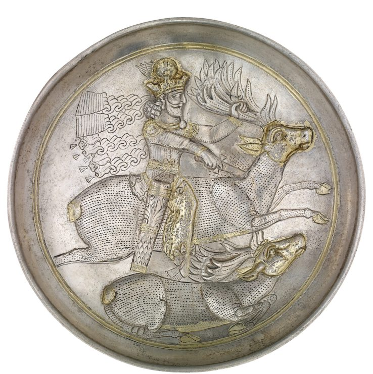above Dish showing a Sasanian king (probably Shapur II) hunting stags. Silver, partially gilded, c. AD 309-379. Size: 18cm diameter