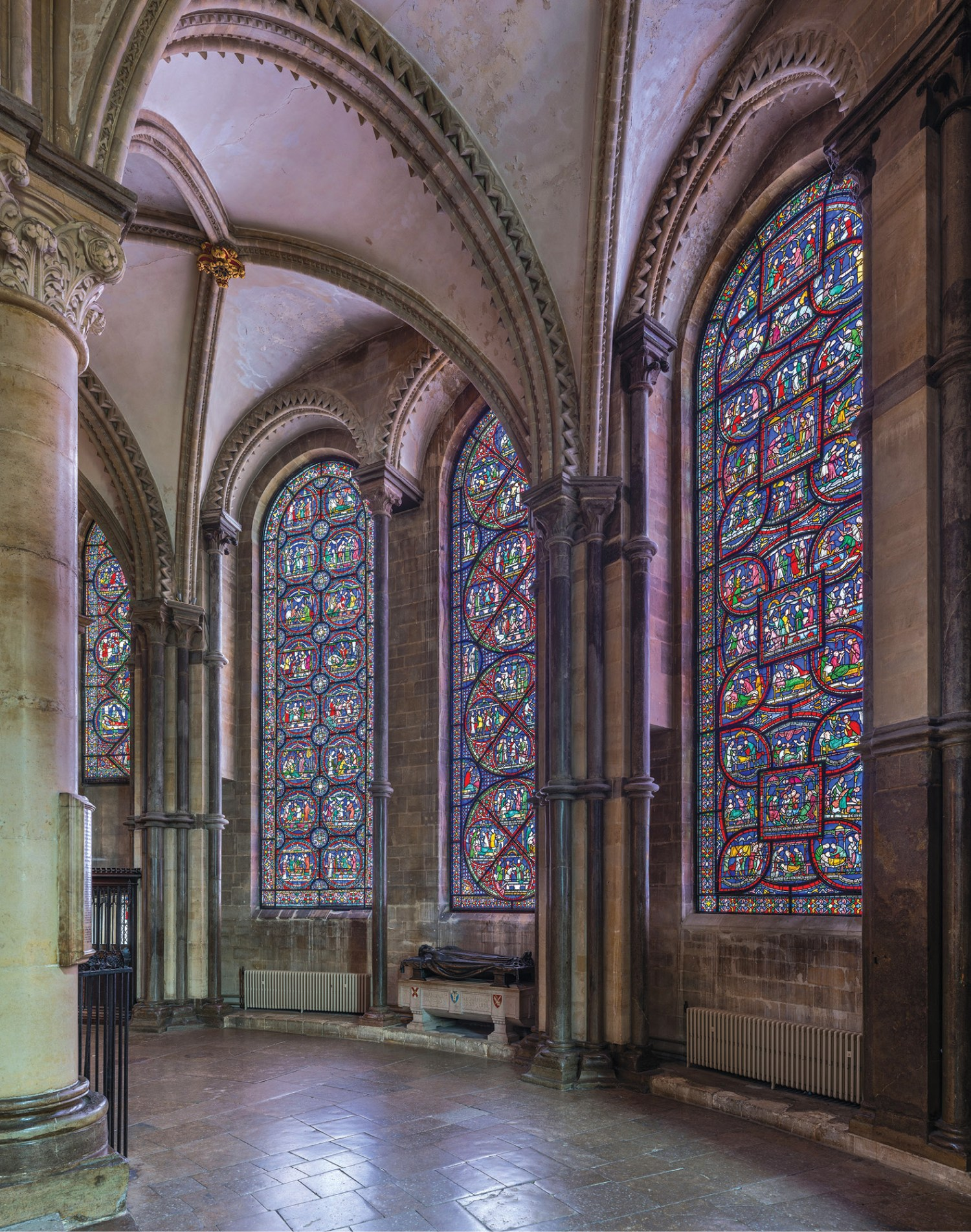 LEFT The Miracle Windows in the southern side of Trinity Chapel in Canterbury Cathedral.