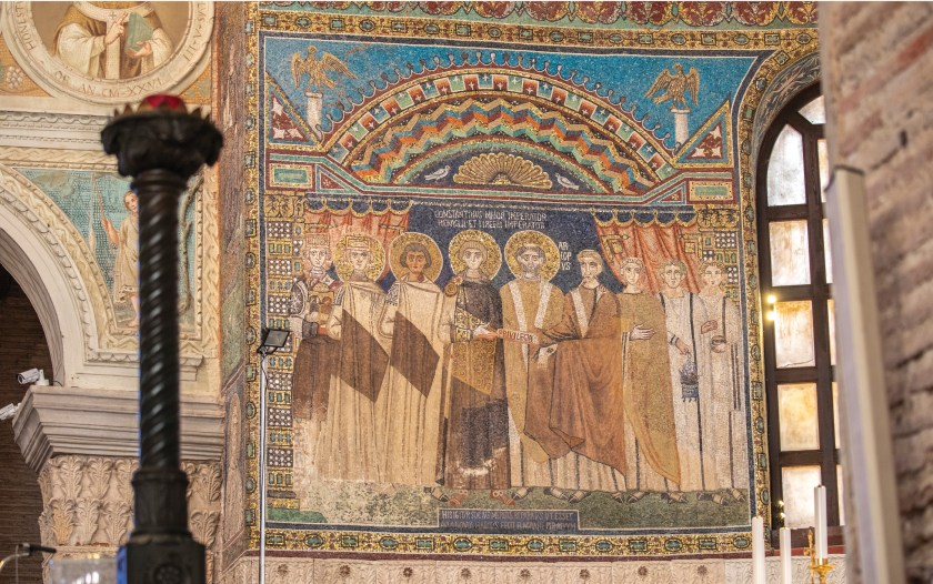 ABOVE Commissioned by Archbishop Reparatus (671-677), this mosaic panel in Sant'Apollinare in Classe celebrates the autonomy of the church of Ravenna, granted by Emperor Constans II in 666.