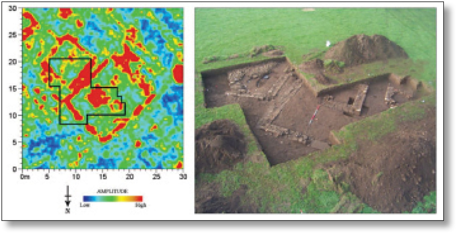 right This GPR time-slice from Binchester shows the corresponding excavation trench and features picked up by the survey. The GPR results in the precise targeting of trenches, and can also provide the archaeologists with important depth information for individual features.