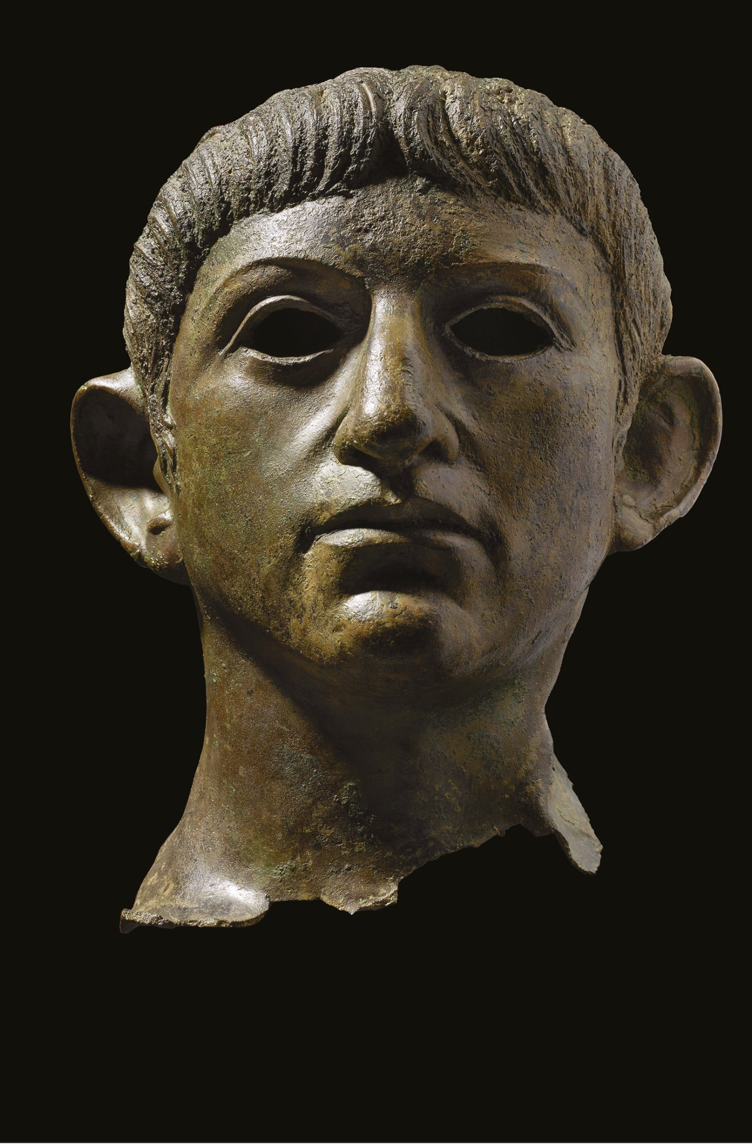 left This bronze head, with its distinctive close-cropped fringe and prominent ears, is thought to depict the emperor Nero. It had been torn from a larger statue and deposited in the River Alde possibly by Iceni rebels who rose against the emperor in AD 60/61. The head currently forms part of a new British Museum exhibition exploring the life and times of the emperor.