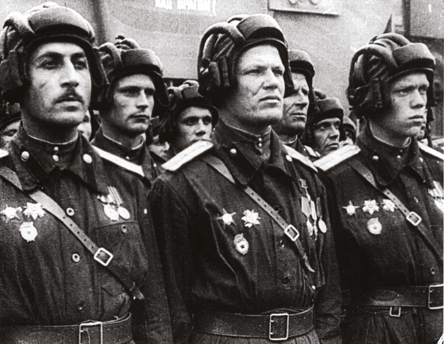 ABOVE Soviet tank crews parade in Moscow after the victory. Sheer numbers of men and machines were the decisive factor.