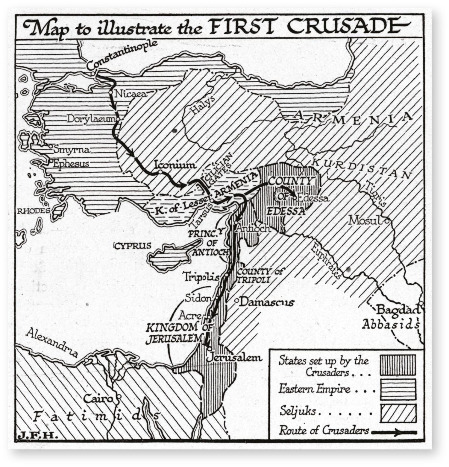 ABOVE Map of the four Crusader states set up after the First Crusade (1096-1099). The challenge was to maintain and defend them over the following two centuries.