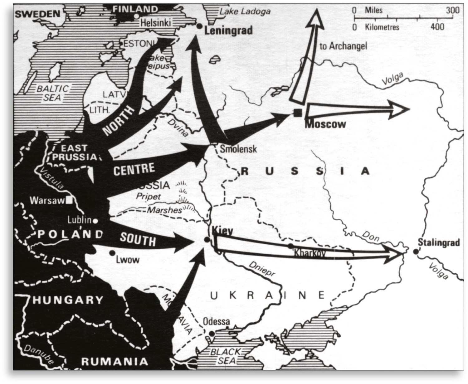 RIGHT A simplified plan of Operation Barbarossa which almost succeeded, thanks to the massive self-inflicted wound of the Stalinist purges of the late 1930s.