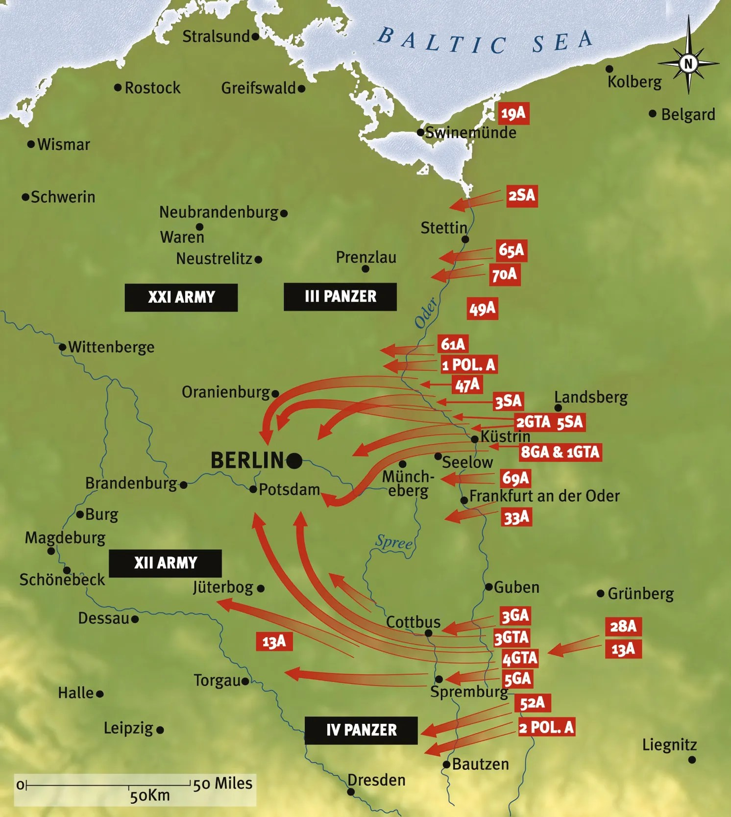 BELOW Plan of the final Soviet offensive against the Third Reich designed to encircle Berlin and then capture the Nazi capital.