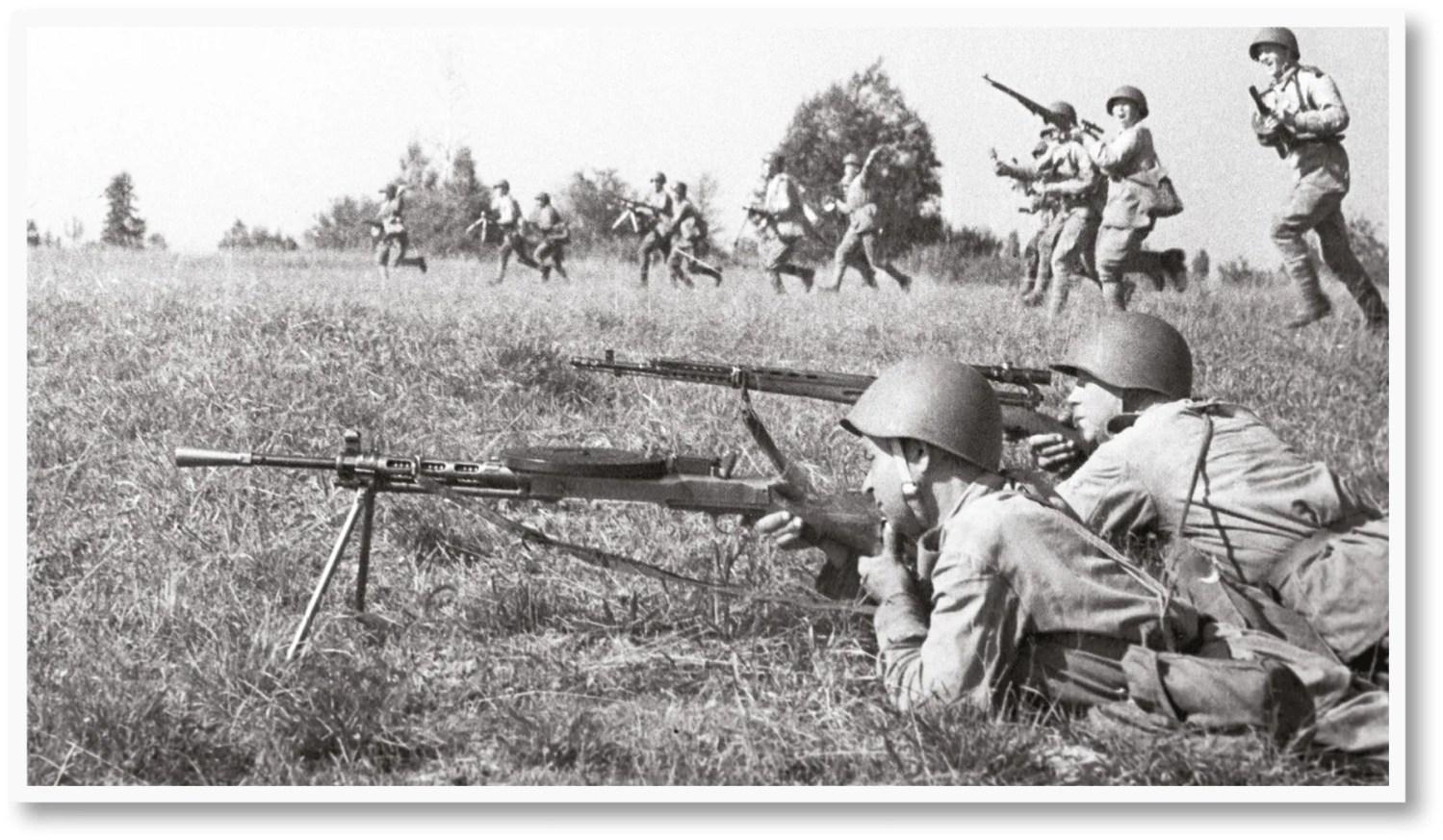 Soviet infantry in action during Bagration.