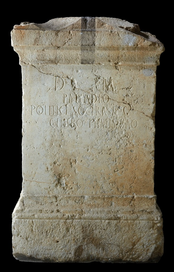 BELOW This tombstone for Palladius was set up by his mother-in-law, Politice. Both names have Greek roots.