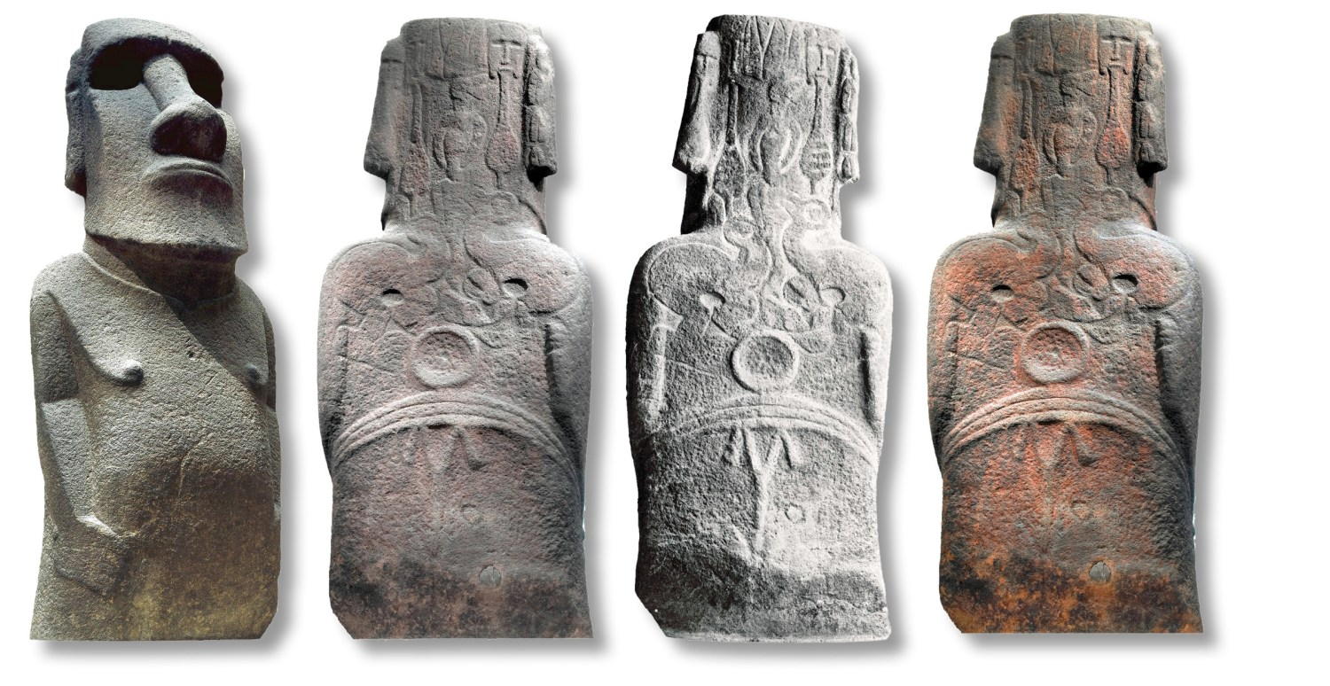 The distinctive face of moai Hoa Hakananai'a (ABOVE); carvings on the back of the statue (above centre); 19th-century photograph showing white symbol outlines (above right); the modern image enhanced, to show traces of red pigment in rock pores (above far right).