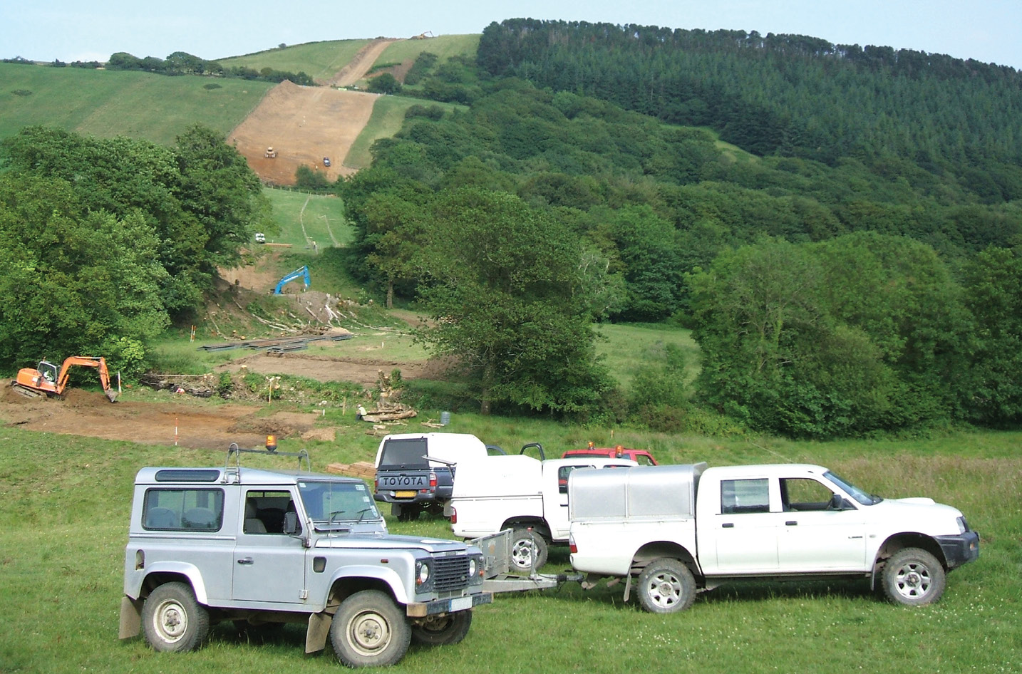 left Archaeologists working on the route of the pipeline were faced with a diverse range of environments, from rolling terrain on the Milford Haven Aberdulais section (above) to digging remote test pits on Mynydd Myddfai (below).