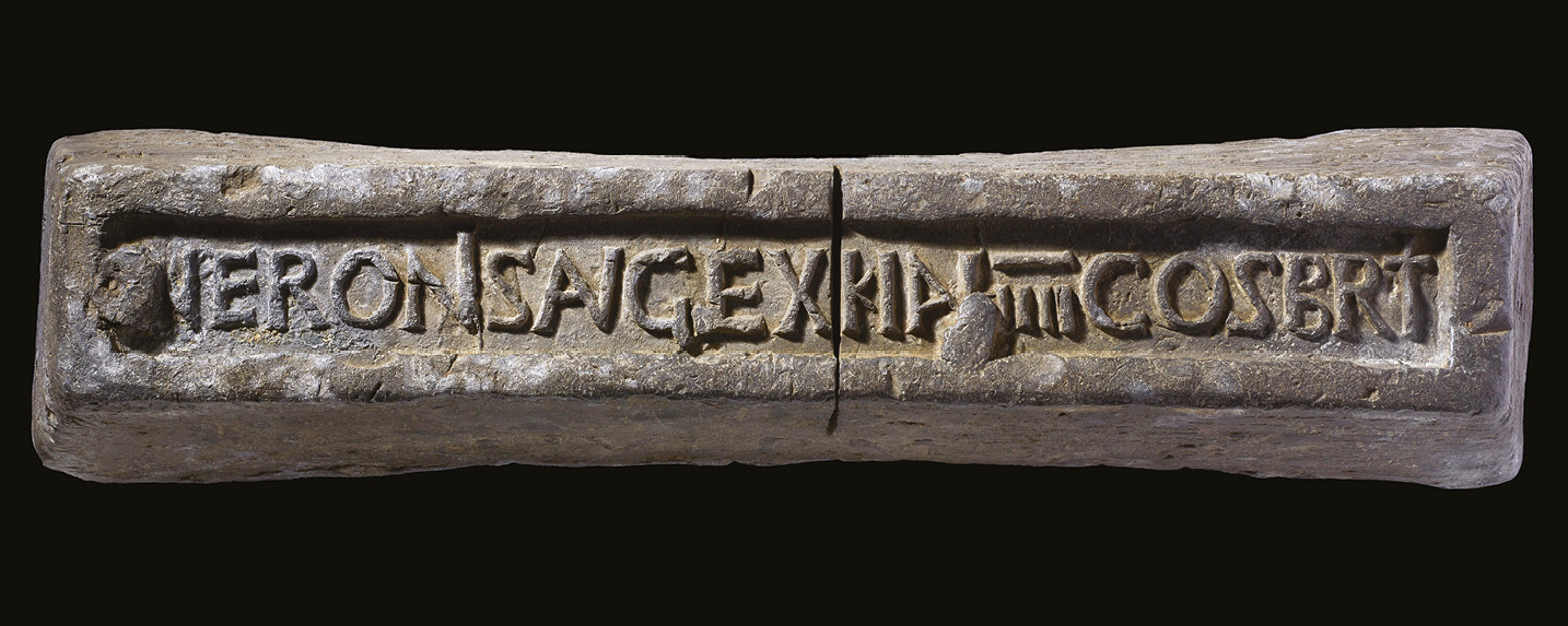 below Found near Stockbridge, this lead ingot would have been produced as part of the mining activities that greatly accelerated in Britain during Nero's reign. Britain's mineral wealth is thought to have been one of the main drivers behind the Roman conquest.
