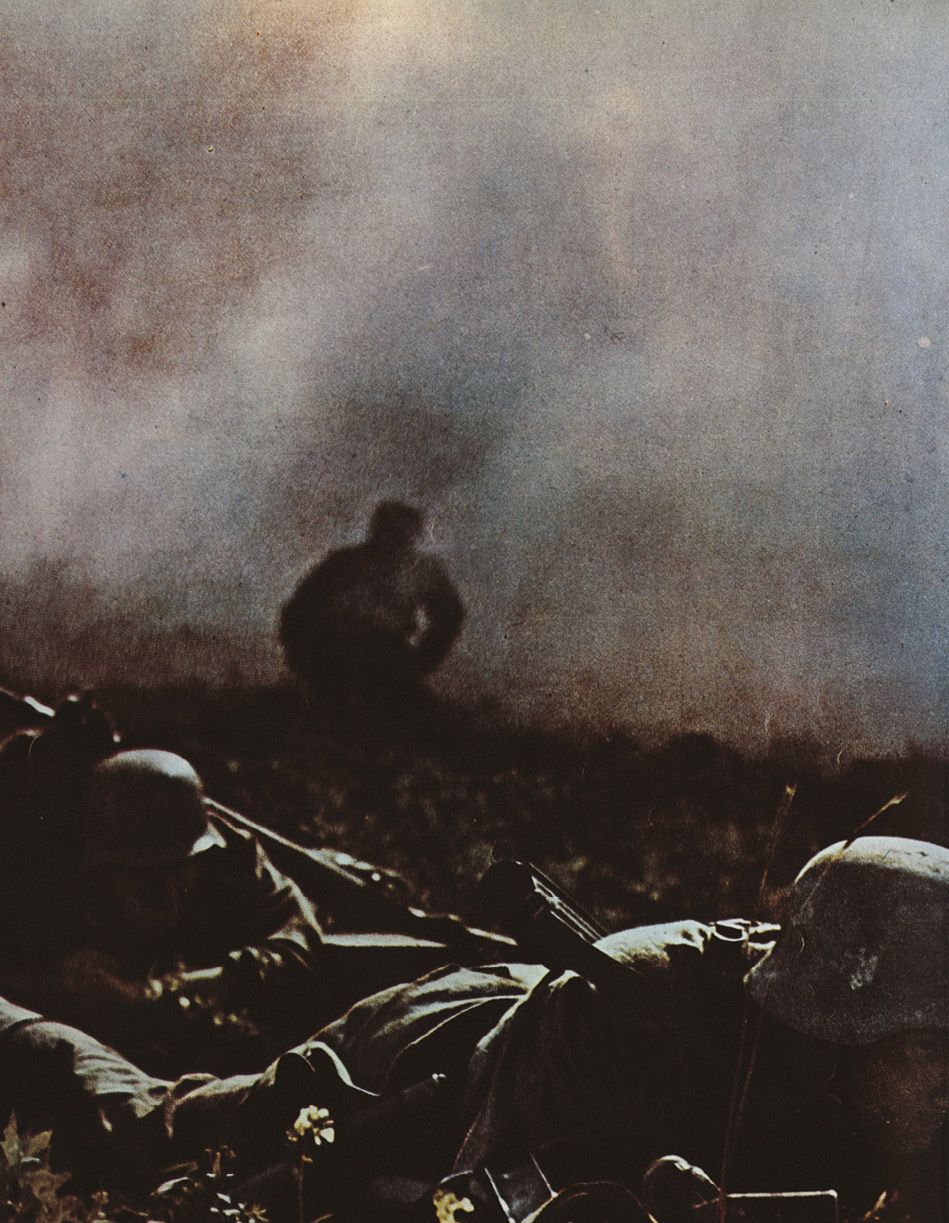 below German infantry under bombardment on the Eastern Front in 1944.