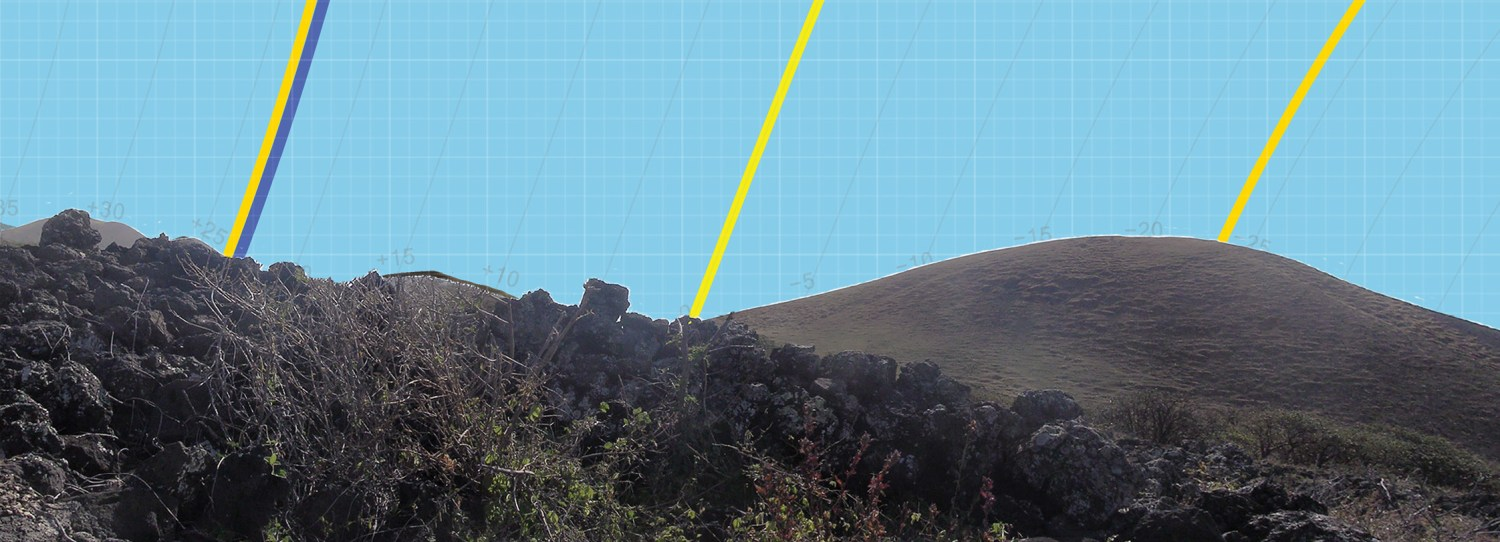 above The eastern horizon, as seen by an observer sitting on a floor slab within heiau WF-AUW-403. The yellow lines show the path of the rising sun at the summer solstice (left), the equinoxes (centre), and the winter solstice (right). The dark blue line gives the rising path of the Pleiades in AD 1600.