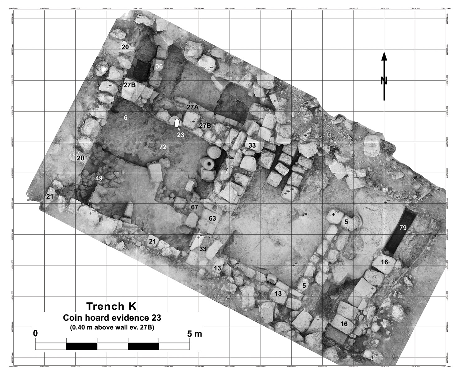 BELOW A photogram showing the excavated parts of the House of the Scroll (Trench K). The kitchen is the room in the SW corner. Marked in white (no. 23) is the place where a coin hoard was found.