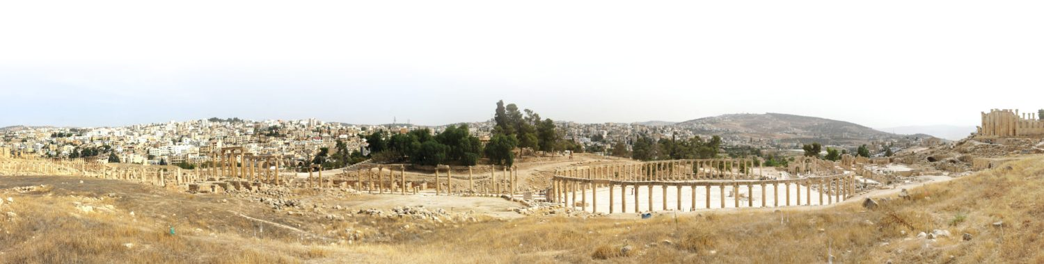 BOTTOM A panorama of Jerash. The impressive columned cardo running north south through the city ends at the so-called 'Oval Piazza'. Further to the right is the Sanctuary to Zeus Olympios.