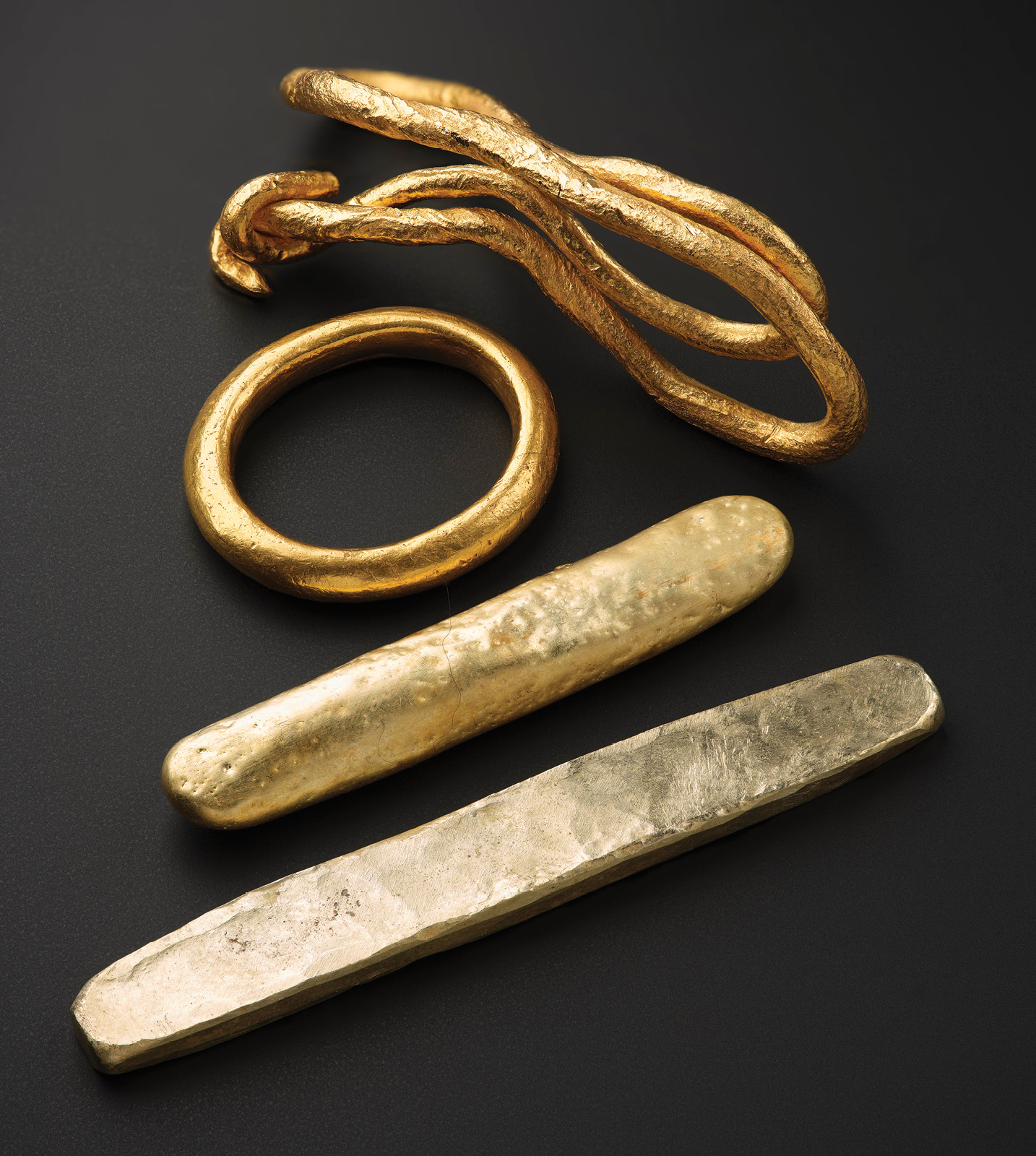 RIGHT The Galloway Hoard contains the largest collection of Viking Age gold surviving from Britain and Ireland. These are just a few of the eclectic objects within this group, which might suggest different origins and manufacturing traditions.