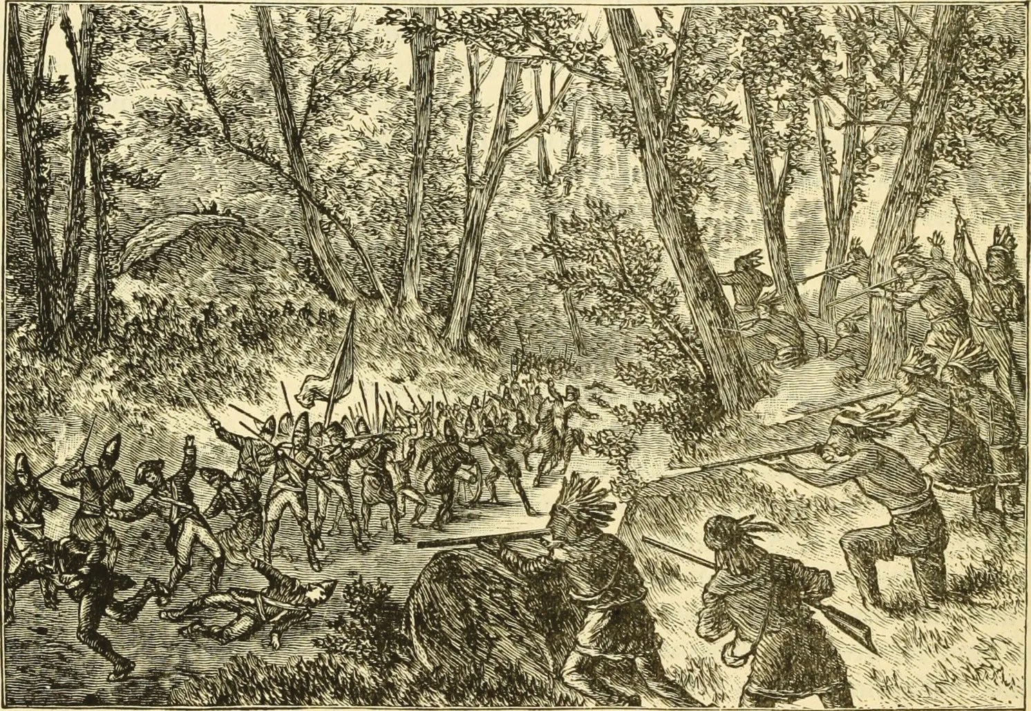 BELOW Most of Braddock's men found it difficult to identify targets, whereas they remained bunched together on the open track and fell steadily to the constant sniping from the trees.