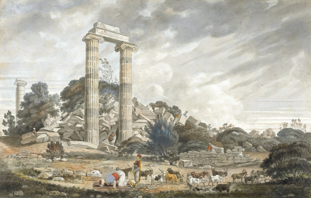 OPPOSITE William Pars, Ruins of the temple of Apollo at Didyma, from the north-east¸ October 1764. Pen and grey and black ink, watercolour, with gum arabic and some body colour. Image: Sir John Soane's Museum.
