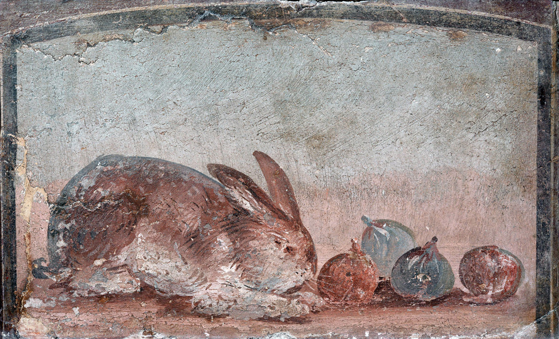 below Another Pompeiian fresco, dating from AD 40-79, shows a rabbit quietly nibbling figs.
