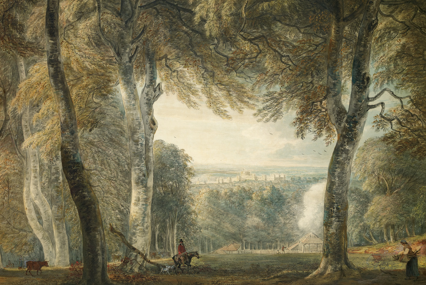 below Windsor Castle from Bishopsgate in the Great Park, 1792. This watercolour by Paul Sandby captures the chief attraction of Windsor for the Norman and Angevin kings of England: the abundance of wild game and the opportunities for hunting in the surrounding royal forests. below right This hand-coloured aquatint from Select Views of Windsor (1827), by William Daniell, depicts the classic view of Windsor Castle from the Brocas, the large meadow on the Eton side (north bank) of the River Thames. Then, as now, the Brocas is a popular picnic spot, boat mooring, and place of recreation.