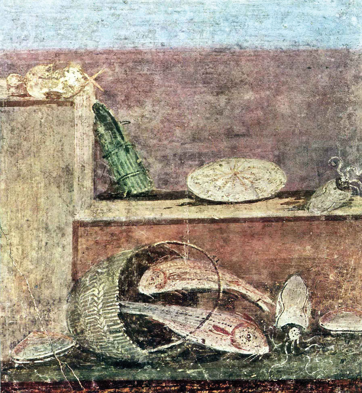above A wall painting from Pompeii, depicting a bundle of asparagus on a bench, with a range of other culinary delights.