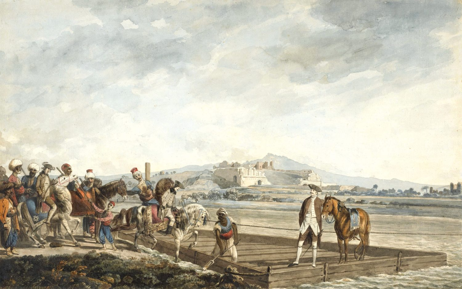 ABOVE The theatre at Miletus with the travellers crossing the river in a ferry, October 1764. Pen and black ink with watercolour and gum arabic. Size: 296 x