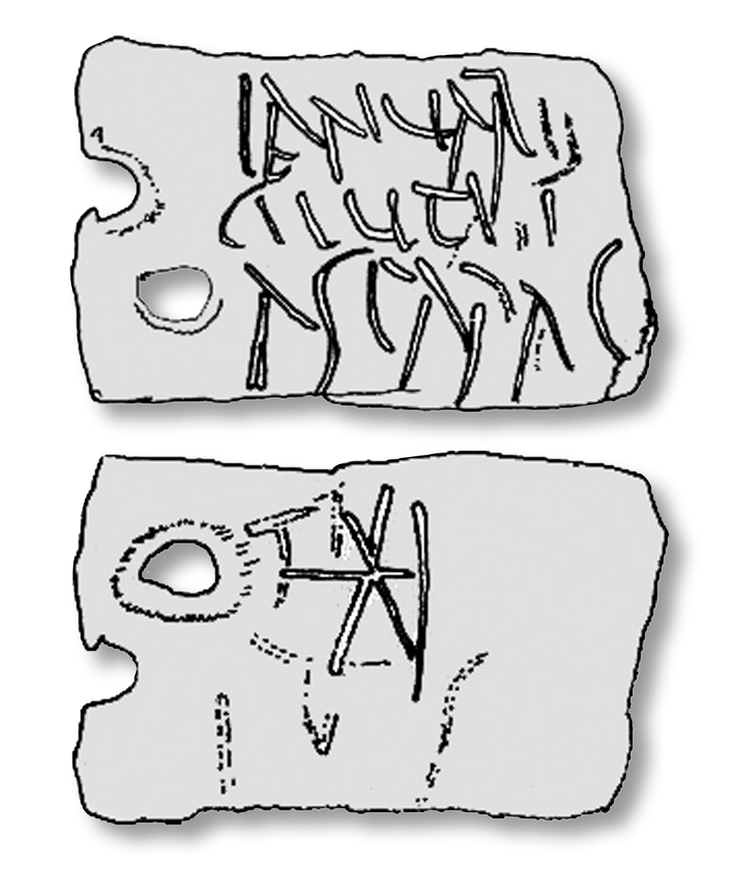 left A lead tag from Trier, measuring 2.4cm by 1.6cm. The front reads: 'Ianuari / Ciuti / asparagus', giving the name of the seller or producer, while the back reads *I. The first mark denotes a denarius, while the second is the number '1': the price was, accordingly, one denarius.