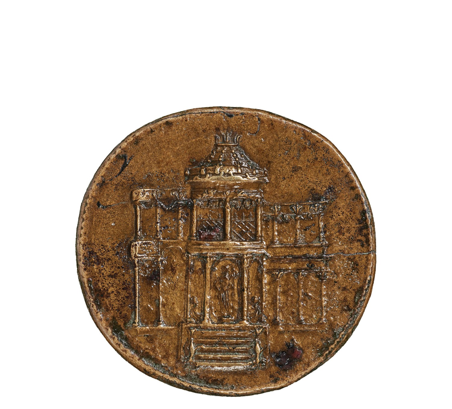 above left Dupondius minted in Rome, showing the great market, the Macellum Magnum. Copper alloy, AD 63. Size: 17.7g in