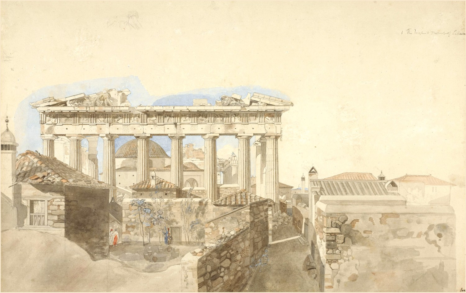ABOVE View of the Parthenon from the east, 1765-1766. Pen and grey ink and watercolour, with body colour, over graphite. Size: 360 x 552mm
