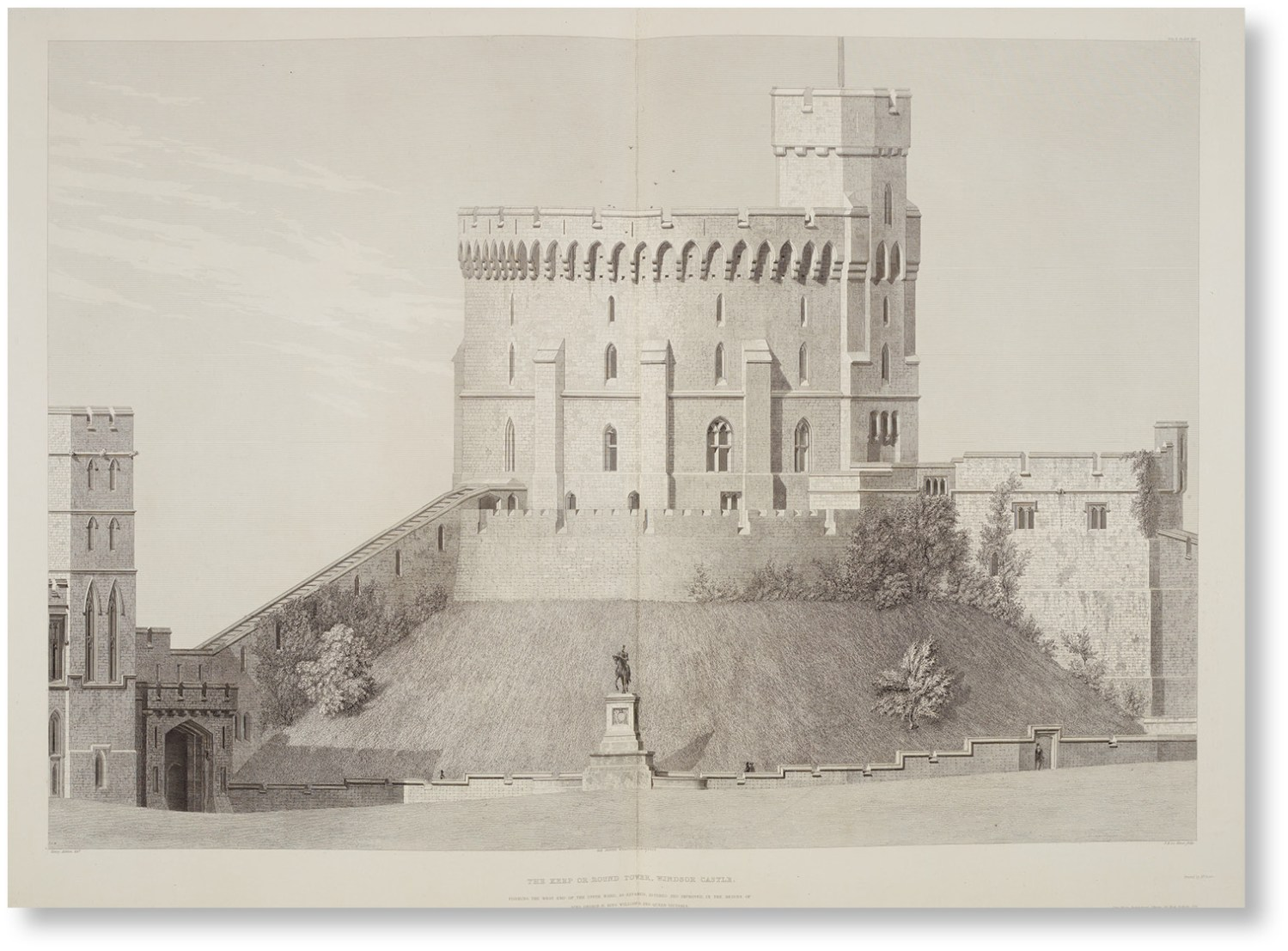 left The Round Tower, as drawn by Benjamin Baud and engraved by William Starling for Ashton and Wyatville's Illustrations of Windsor Castle (1841). Subtle alterations to the Round Tower carried out by Wyatville in the 1820s made the shell keep taller, doubling its height and making it a central feature of the castle's skyline.