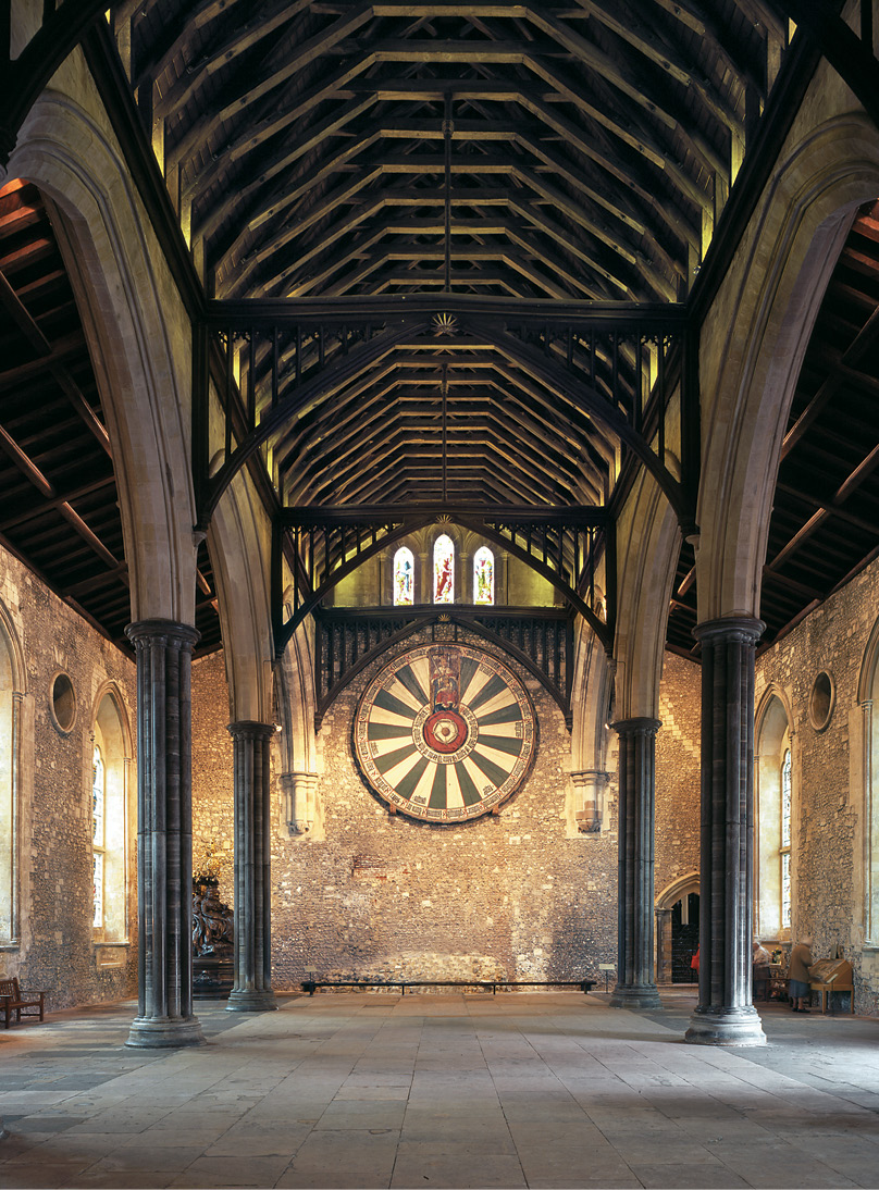right The Great Hall at Winchester, built 1222-1236, is a fine example of the communal hall. The symbolic importance of the hall, representing society in microcosm, explains its longevity as an architectural form, which survives today in some public schools and collegiate universities.