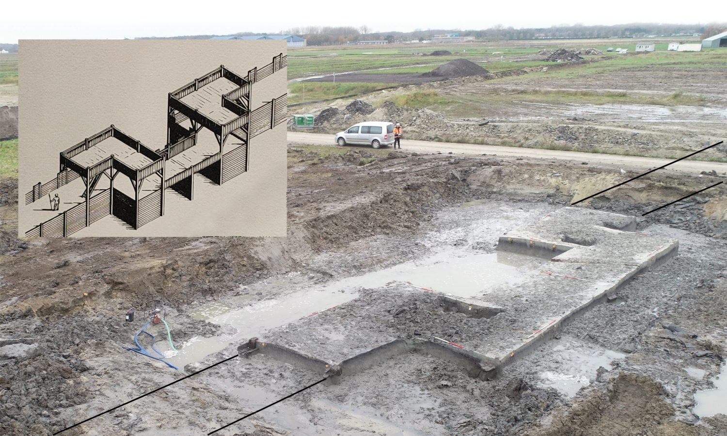 left A Roman legionary fortress has been detected near the renowned auxiliary fort at Valkenburg. Uncovering the remains of the fortress gateway was a key factor in proving the existence of a previously unsuspected military site. The inset reconstruction drawing provides a sense of how this timber gateway would once have looked.