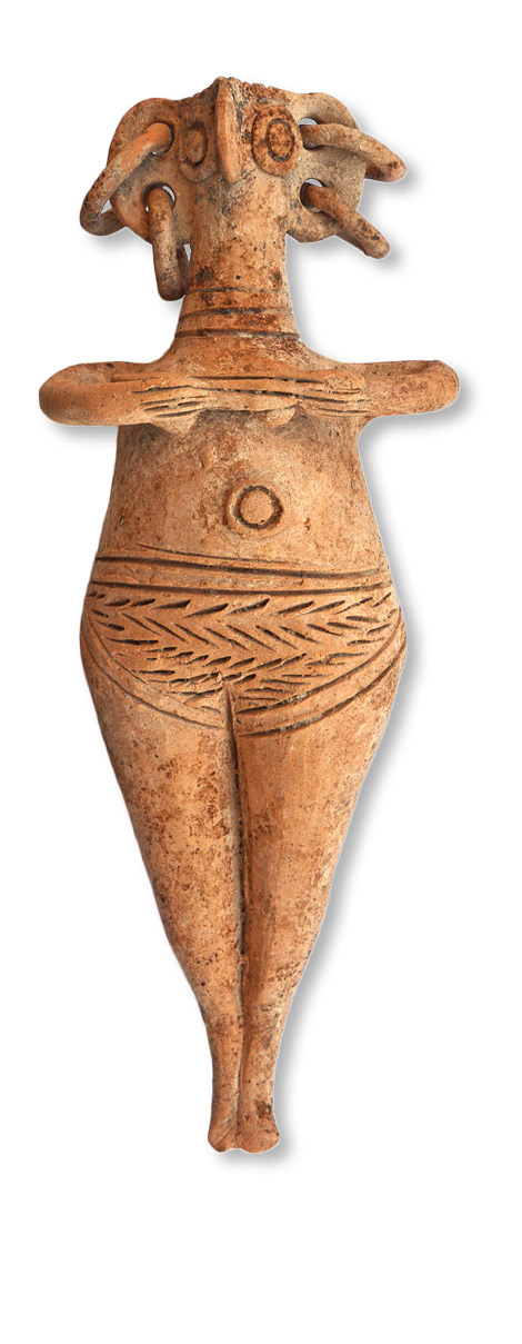 above Among the many ceramics found in Tomb SS was this hollow bovine figurine, which was made in Cyprus c.1350 BC. left Four of these bird-headed ceramic figurines, created in the local area c.1350 BC, were found in Tomb RR. below This bronze knife with an ivory handle, dated to c.1300 BC, was also found in Tomb RR.