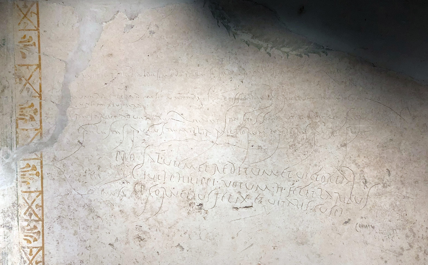 ABOVE Graffiti from the kitchen of the House of Gaius Iulius Polybius at Pompeii includes a poem praising Nero and Poppaea's offerings to Venus when they visited the city. It says, 'Poppaea sent as gifts to most holy Venus a beryl, an ear-drop pearl, and a large single pearl. When Caesar came to most holy Venus and when your heavenly feet brought you there, Augustus, there was a countless weight of gold'. That the poem remained in place after Nero's death probably tells us something about how the emperor was regarded locally.
