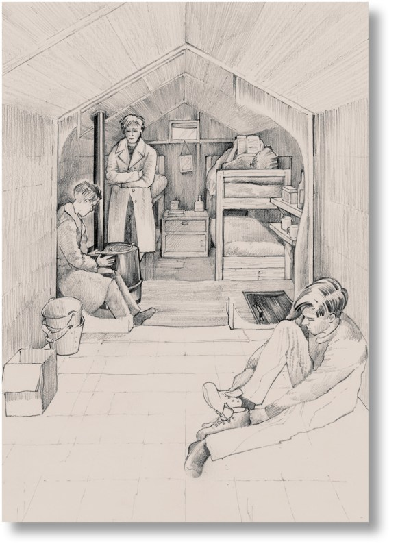 above No photographs exist of the interiors of the prisoners' tent structures this artist's impression is based on archaeological evidence gathered during the excavation.