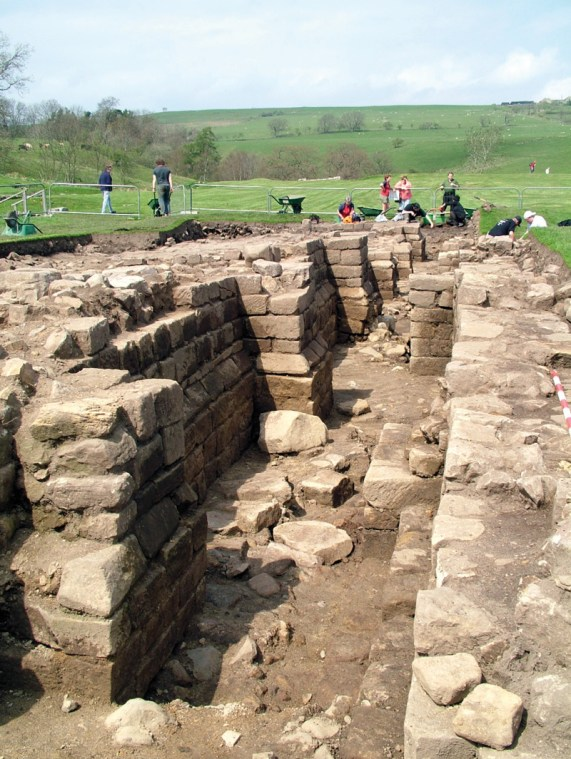 Below A detail view of the Roman granaries at Vindolanda, with their heavily buttressed walls.