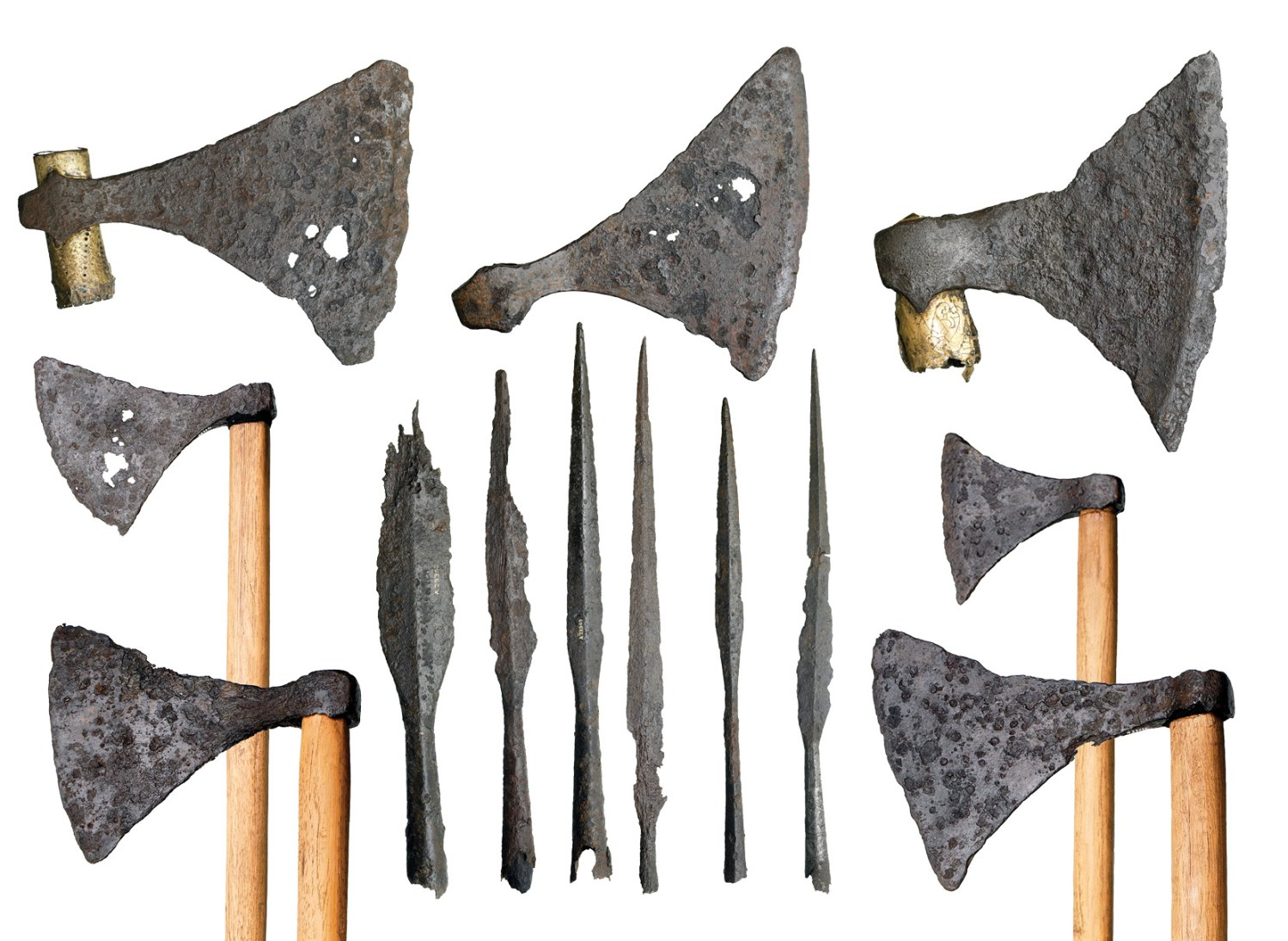 below These axes and spearheads, now on display in the Museum of London, form part of a hoard of Viking weapons and tools that was found close to London Bridge and may have belonged to Cnut's warriors.