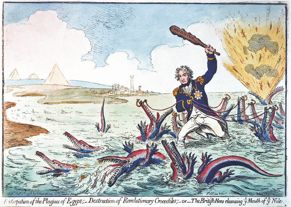 Below left Extirpation of the Plagues of Egypt; Destruction of Revolutionary Crocodiles; or The British Hero cleansing ye mouth of ye Nile by James Gillray, 1798. This is a simple but effective celebration of Nelson's resounding victory over the French fleet at the Battle of the Nile on 1 August 1798. A colossal Nelson stands in the mouth of the river capturing and culling tri-coloured crocodiles. The biblical plagues of Egypt of the title are transformed into crocodiles, which stand in turn for the French ships taken or destroyed during the battle: one with flames issuing from its jaws evidently represents L'Orient, whose dramatic explosion was the focus of many contemporary paintings and prints of the battle. This print shows Nelson, in line with contemporary newspaper reports, as the unqualified British hero, a