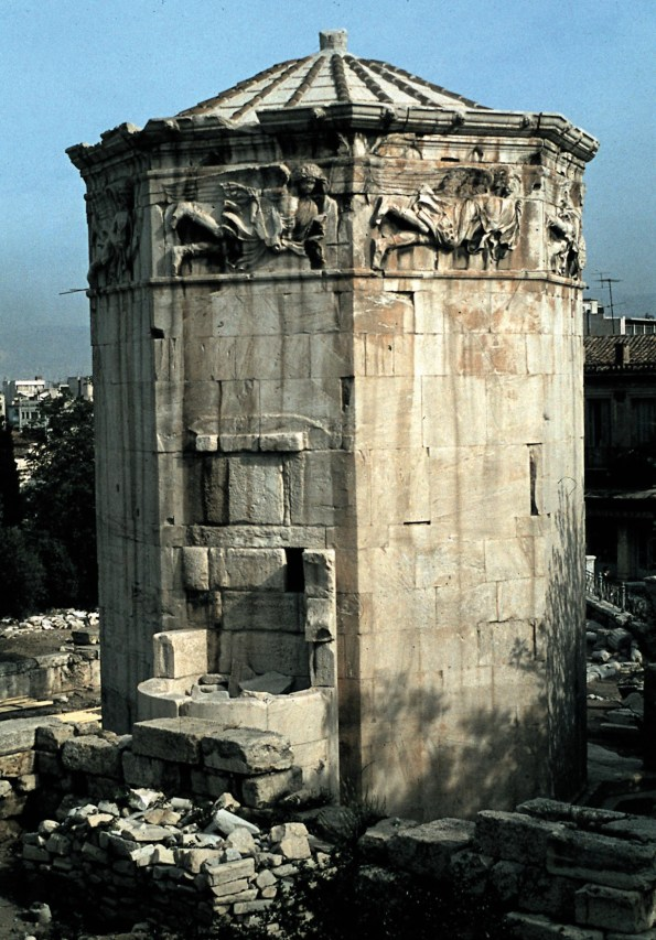 Left Did the famous Tower of the Winds in the Roman Forum at Athens actually house a water-clock? There is strong evidence that a number of Roman municipalities had such facilities.