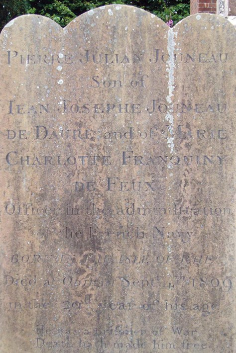 above Gravestones in All Saints Church, Odiham, Hampshire, record the names of French prisoners of war who, being officers, were allowed to live in the town rather than aboard a prison ship.
