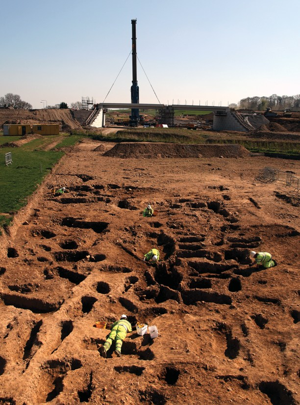 left The Roman cemetery at Bainesse, and (above) one of the individuals interred there, who had been laid to rest wearing bracelets and a bead necklace.