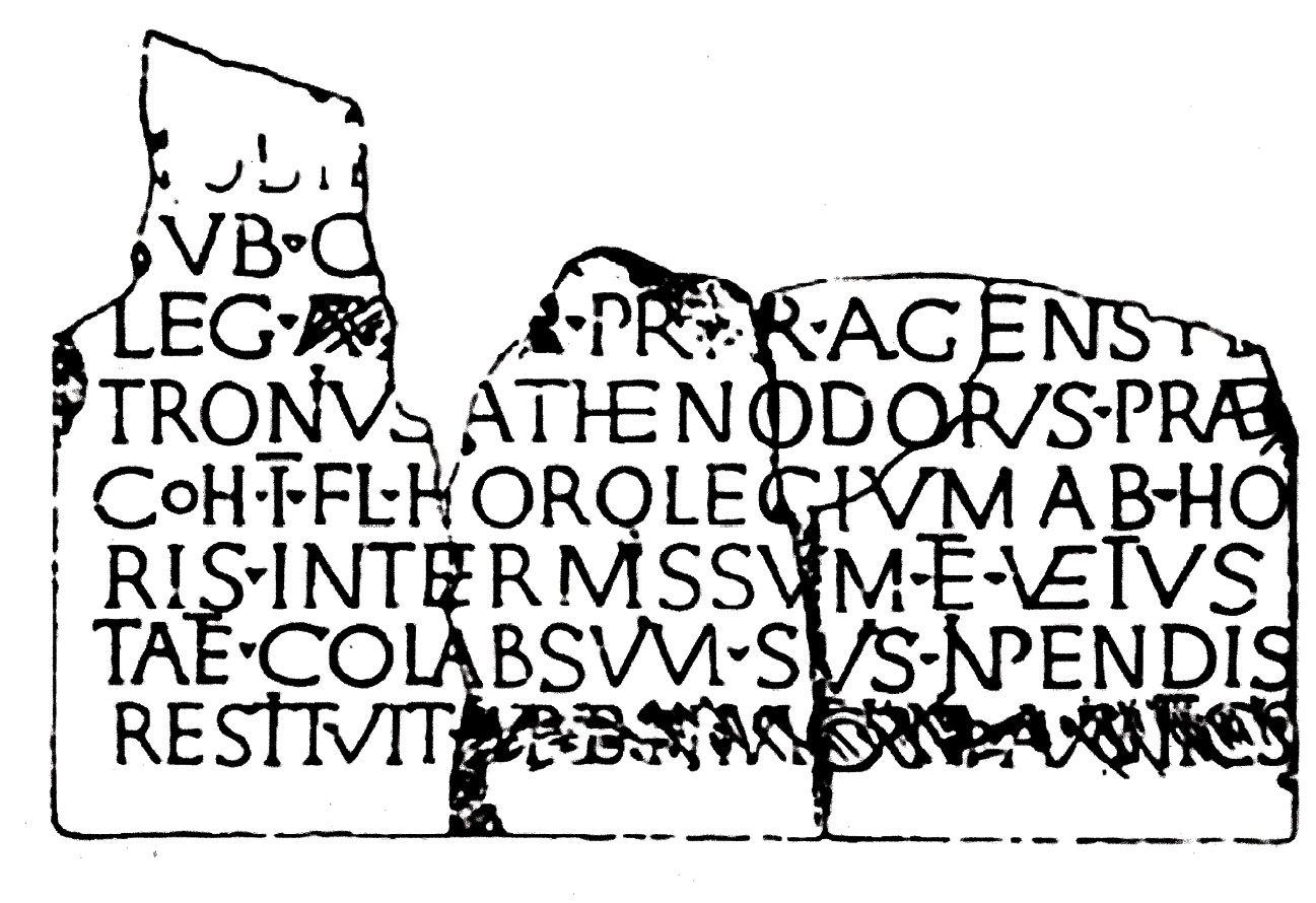 Above This Roman military inscription of early 3rd century date from Remagen on the Rhine records the following: 'Petronius Athenodorus, prefect of the First Flavian Cohort, repaired at his own expense the clock that had stopped telling the time and was broken down through age'. Was it a water-clock? It seems unlikely that anything less would merit such grand commemoration.