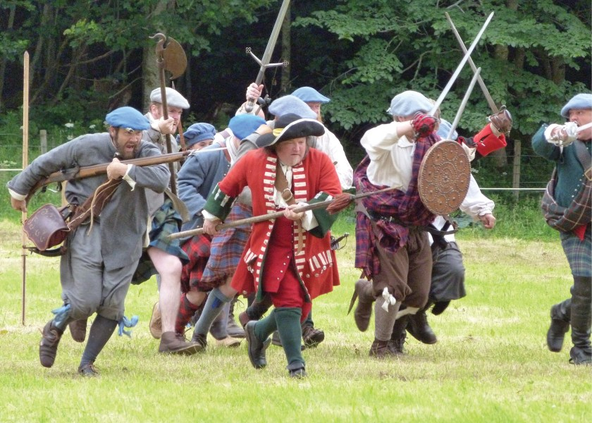 main image Re-enactment of a Highland charge during the annual Soldiers of Killiecrankie event (see box p.46). Despite it seeming to involve little more than a disorderly rush at the enemy, the charge required great discipline. During the battle such a charge smashed the left flank of the Government army.