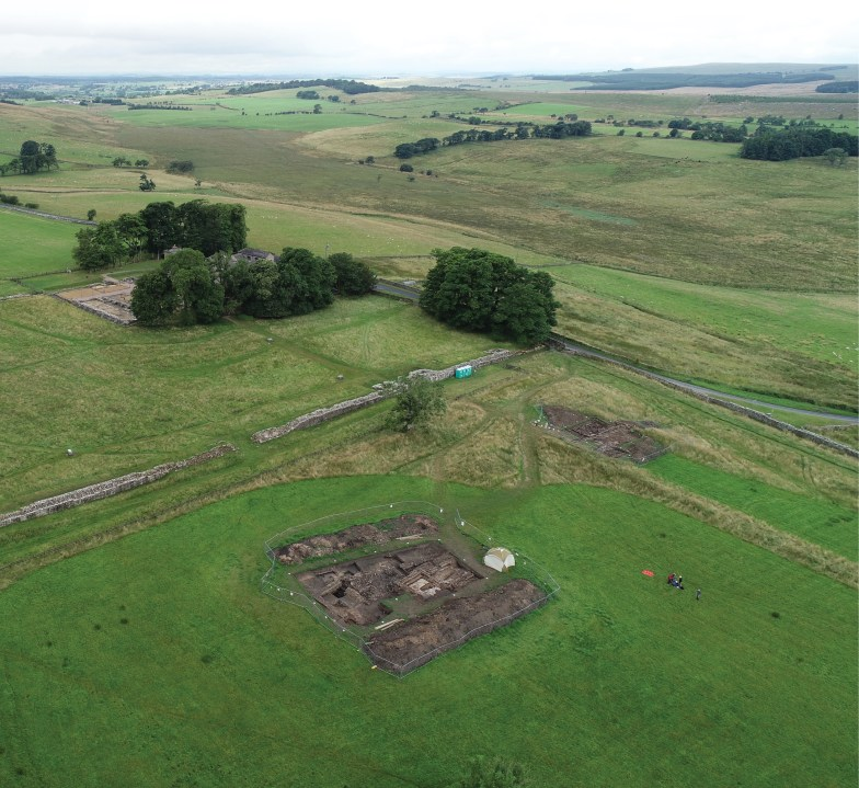 OPPOSITE Overlooking the recent excavations outside Birdoswald Roman fort. The two trenches shown here were located to explore the area outside the fort walls, while a third was opened just on the north side of Hadrian's Wall. The larger Trench A revealed the remains of monumental buildings, while Trench B contained the outline of what is thought to have been a strip house associated with the road leading north out of the fort.