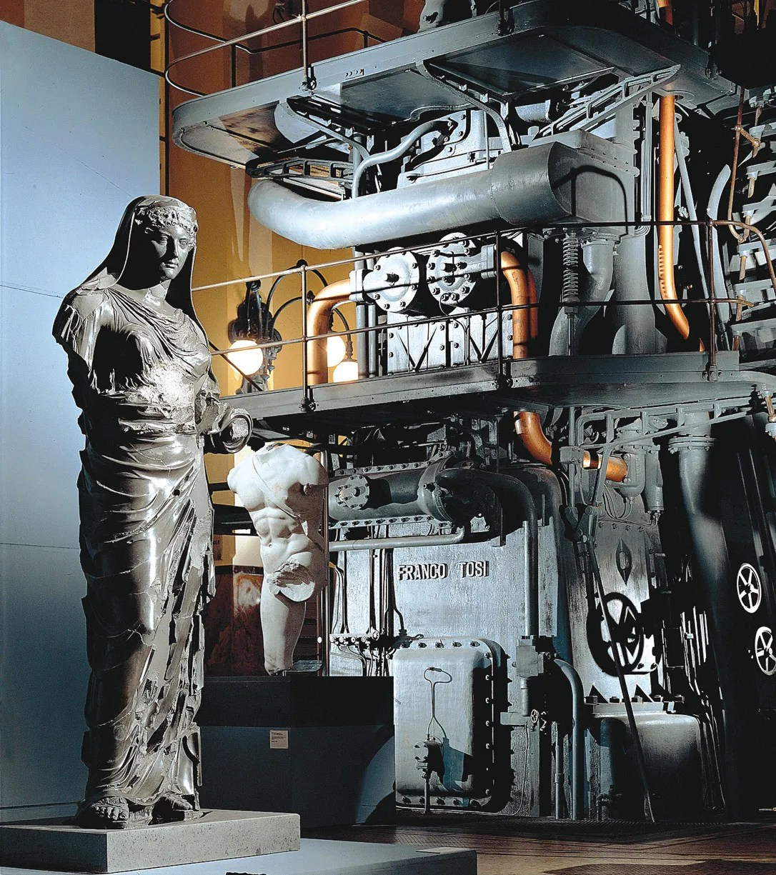RIGHT Ancient sculpture on display among the defunct machinery of the Centrale Montemartini.