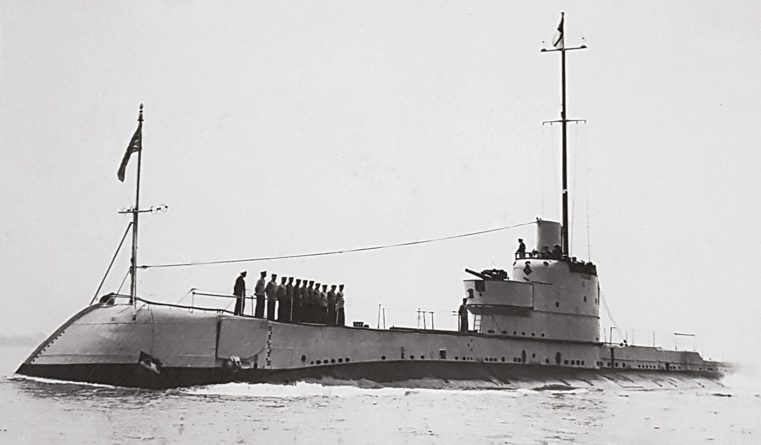 above An early photograph of the British submarine HMS Olympus.