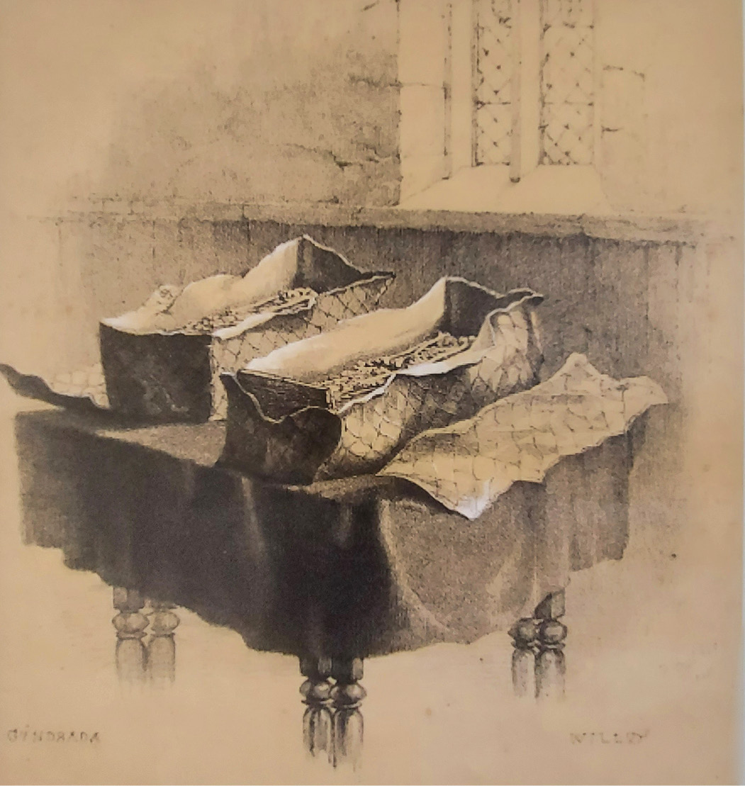 LEFT The discovery, in 1845, of these lead cists containing the remains of the founders of Lewes Priory inspired the foundation of Sussex Archaeological Society. This sketch by R H Nibbs was drawn the day after they were found.